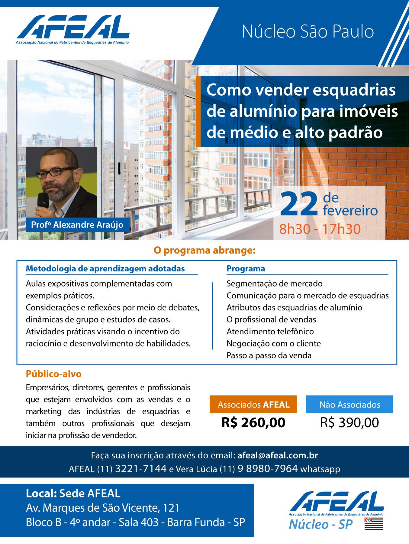 Curso de como vender esquadrias de aluminio para imóveis de médio e alto padrão com Alexandre Araújo
